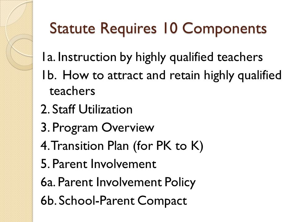 Statute Requires 10 Components