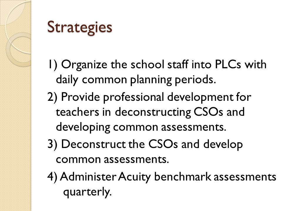 Strategies 1) Organize the school staff into PLCs with daily common planning periods.