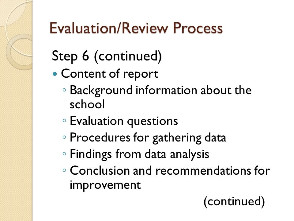 Evaluation/Review Process