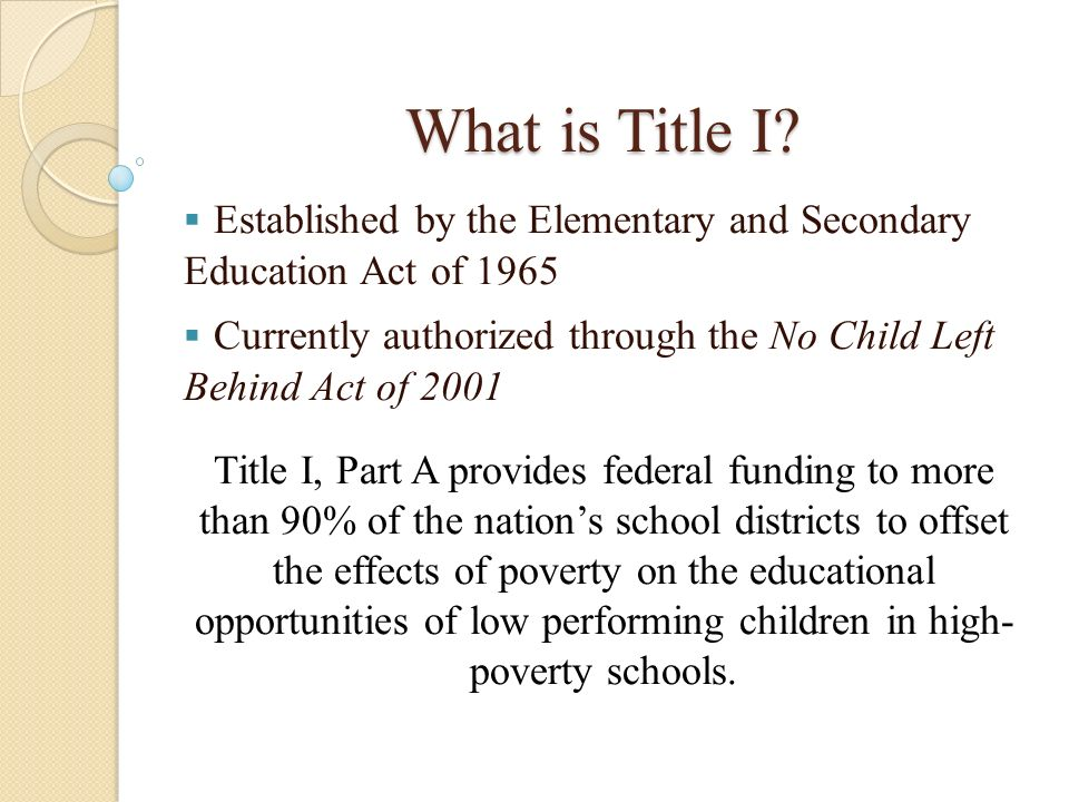 What is Title I Established by the Elementary and Secondary Education Act of