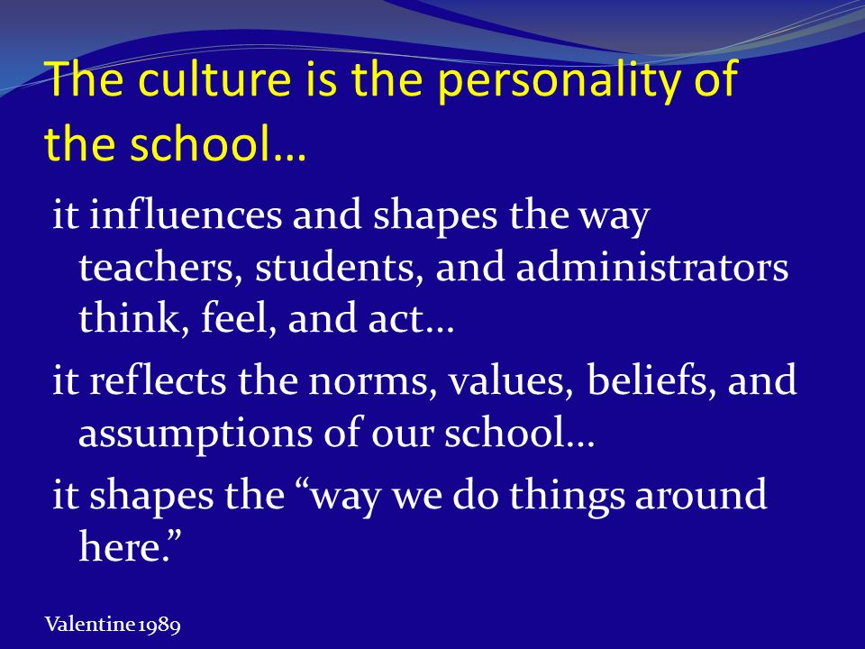 The culture is the personality of the school…