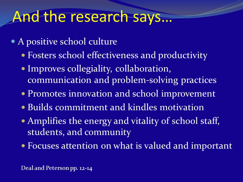 And the research says… A positive school culture