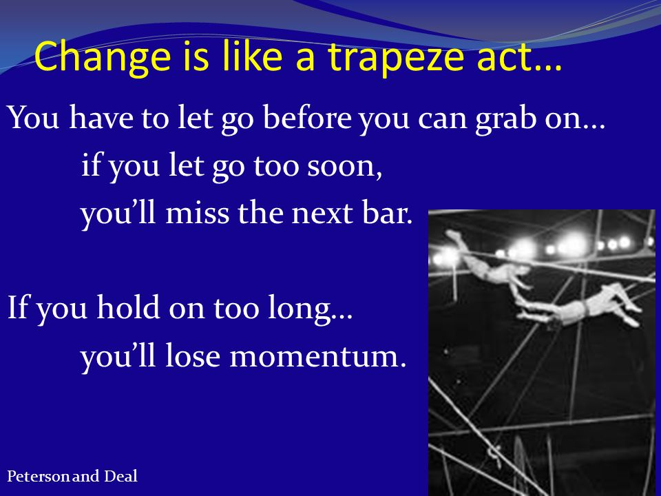 Change is like a trapeze act…