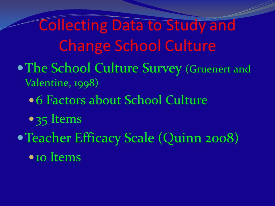 Collecting Data to Study and Change School Culture