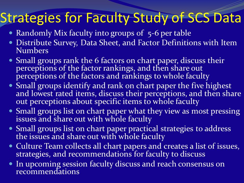 Strategies for Faculty Study of SCS Data