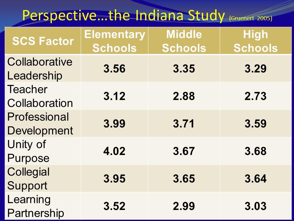 Perspective…the Indiana Study (Gruenert 2005)