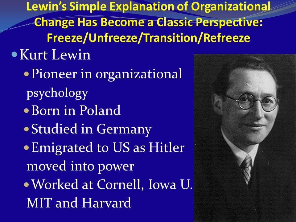 Kurt Lewin Pioneer in organizational psychology Born in Poland