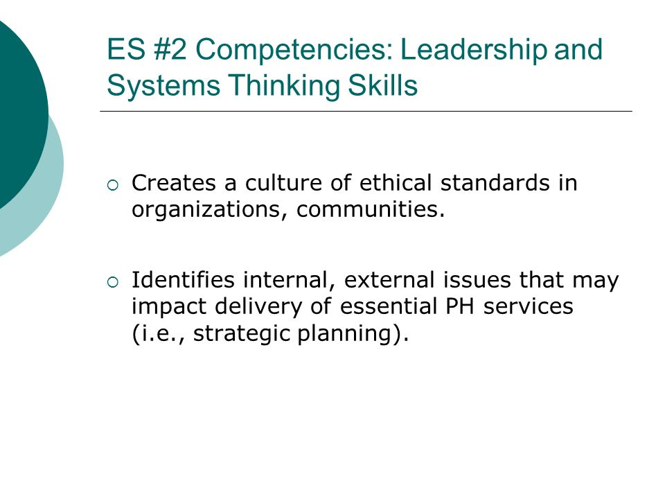 ES #2 Competencies: Leadership and Systems Thinking Skills