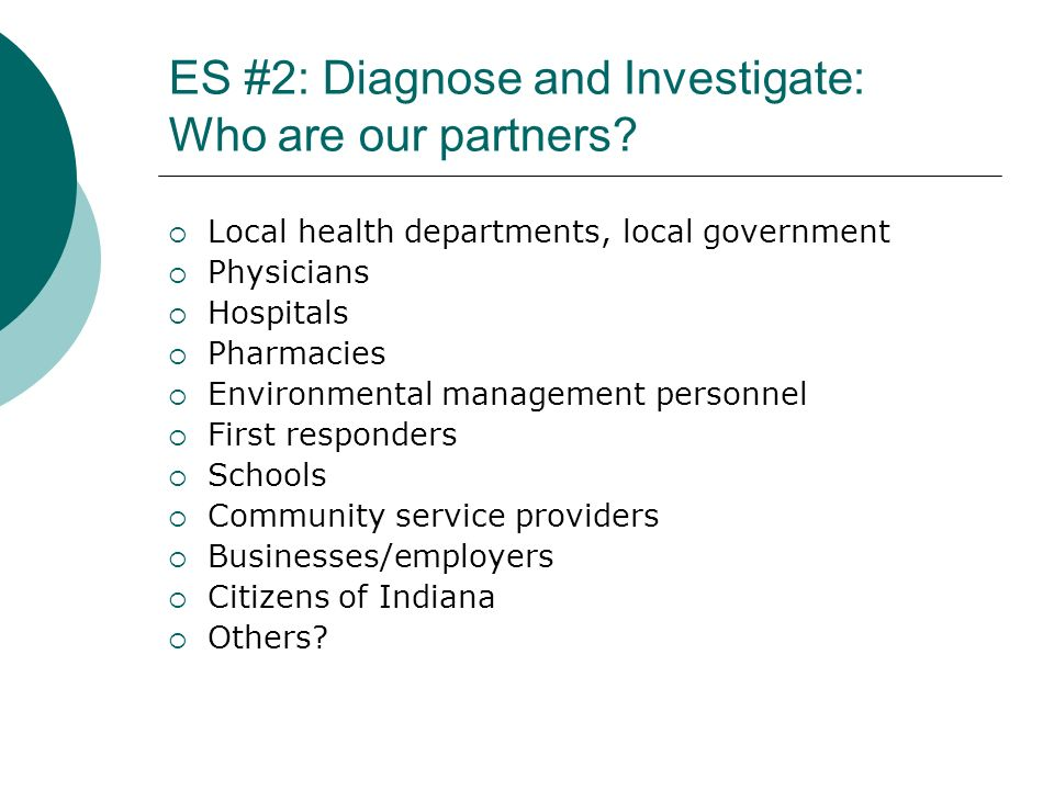 ES #2: Diagnose and Investigate: Who are our partners