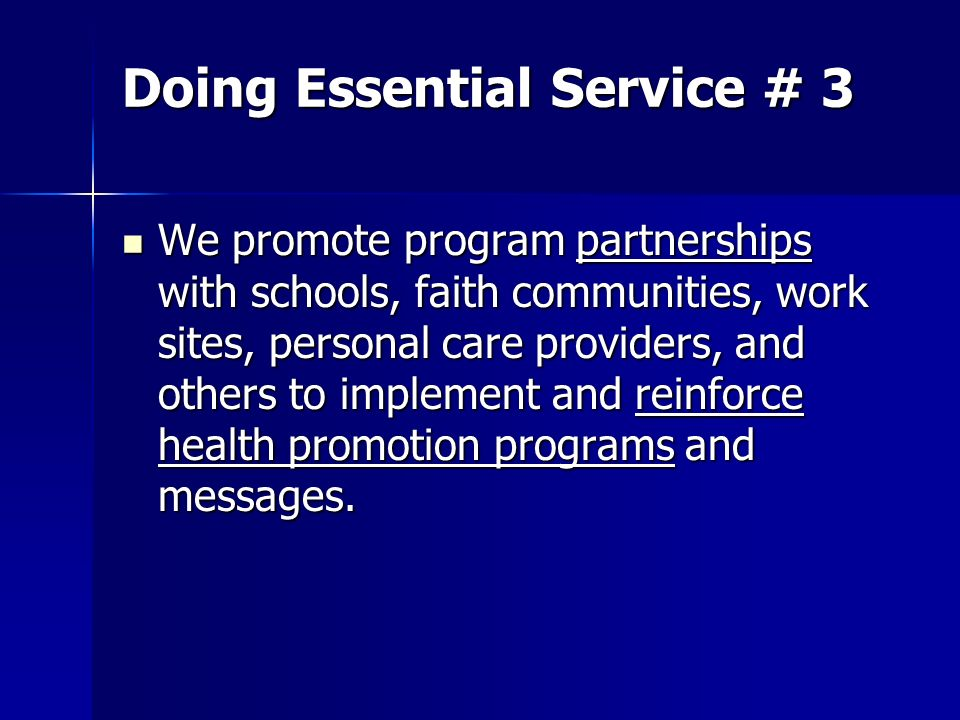 Doing Essential Service # 3