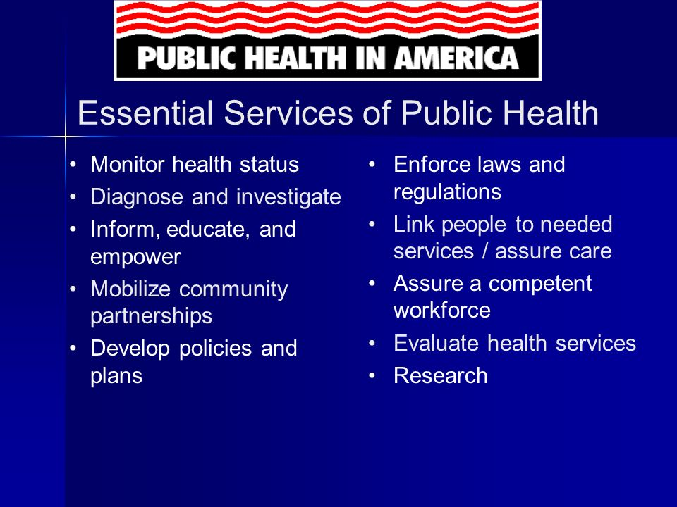 Essential Services of Public Health