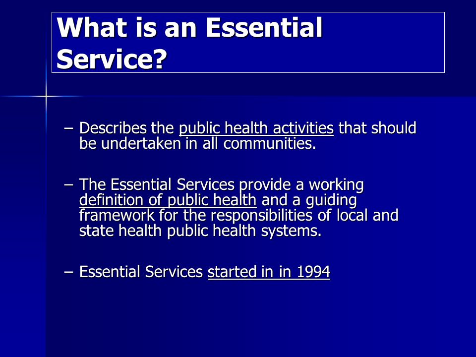 What is an Essential Service