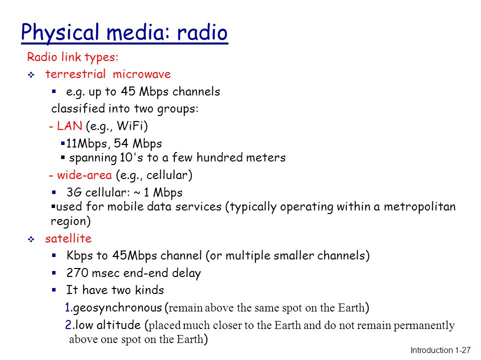 Physical Media Radio Link Types Terrestrial Microwave