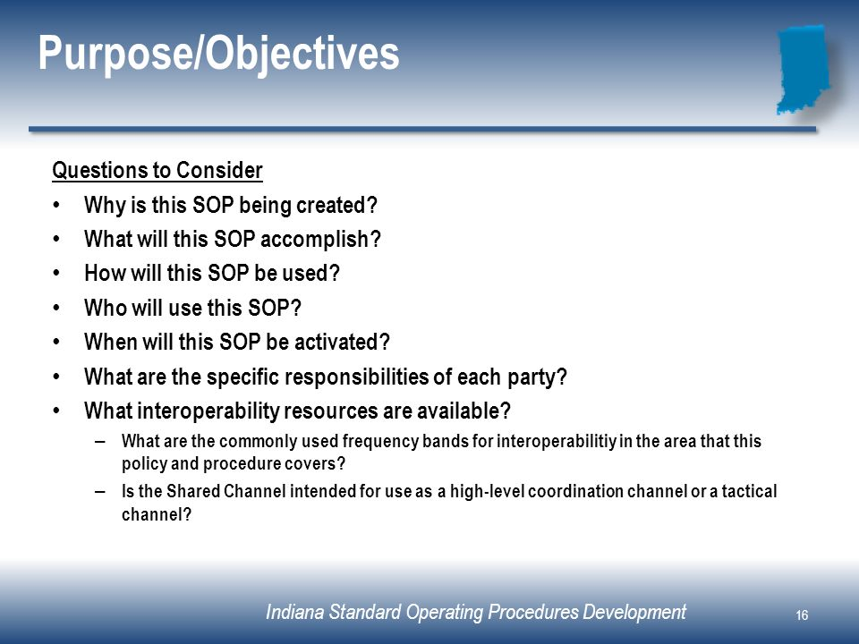 16 Purpose/Objectives Questions To Consider Why Is This SOP ...