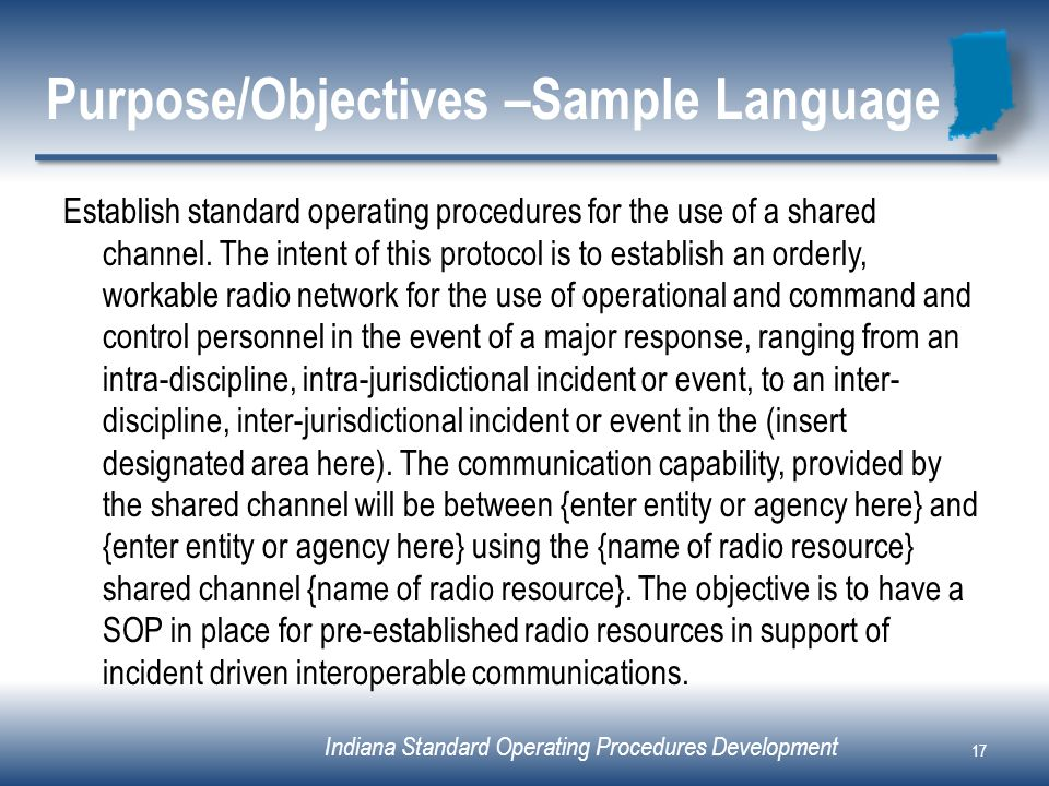 Purpose/Objectives –Sample Language