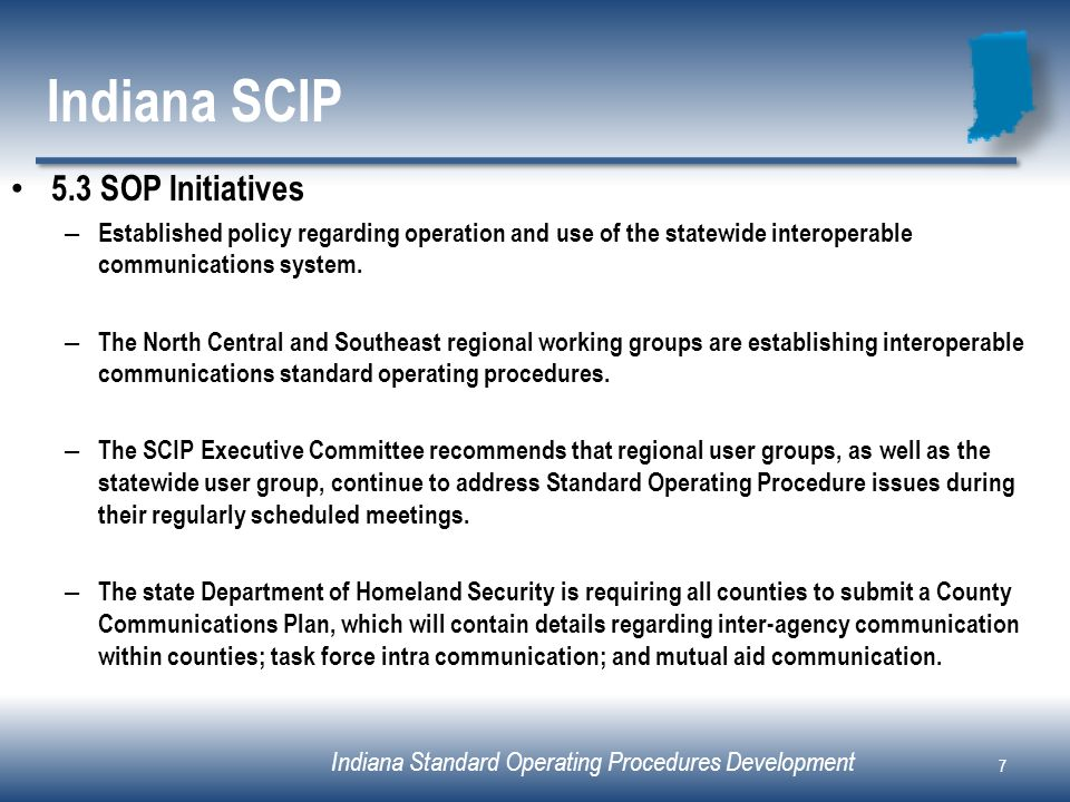 Indiana SCIP 5.3 SOP Initiatives