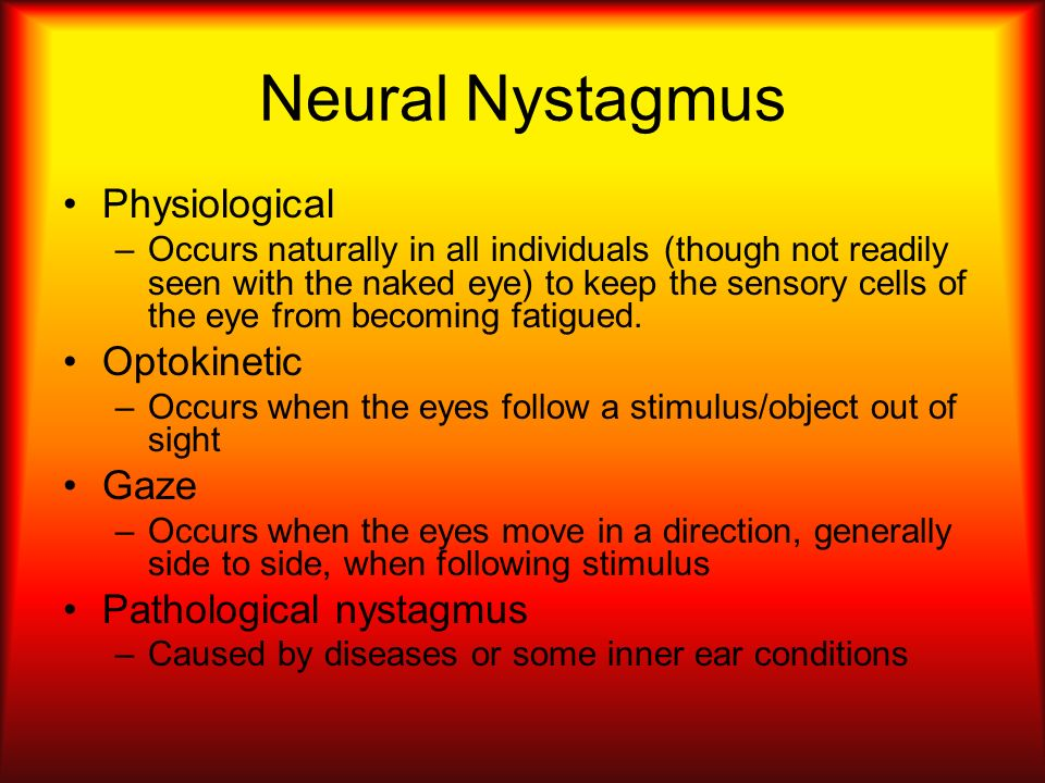 Neural Nystagmus Physiological Optokinetic Gaze Pathological nystagmus