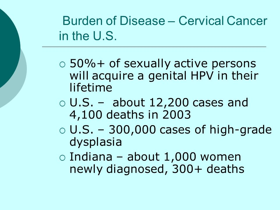 Burden of Disease – Cervical Cancer in the U.S.