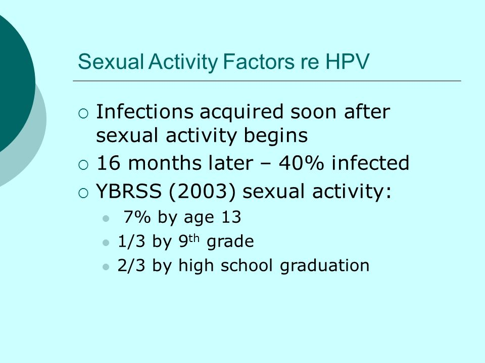 Sexual Activity Factors re HPV