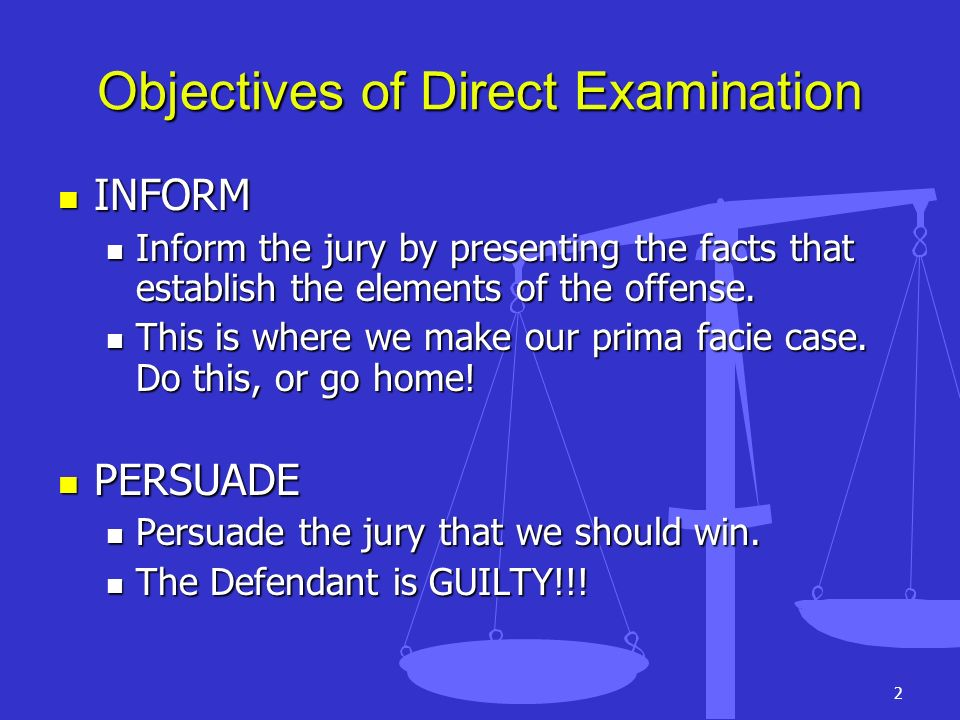Objectives of Direct Examination