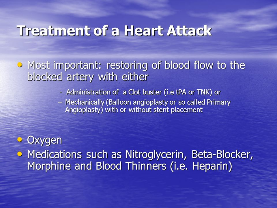 Treatment of a Heart Attack
