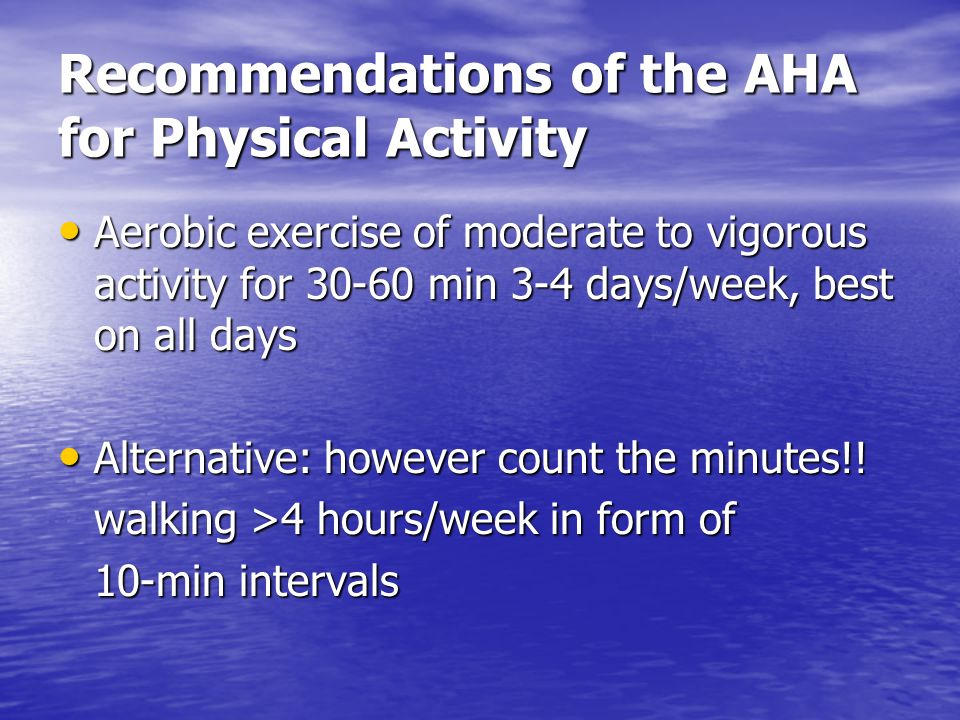 Recommendations of the AHA for Physical Activity