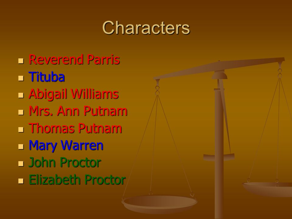 major character analysis of salem witch trials