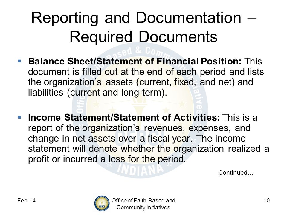 Reporting and Documentation – Required Documents