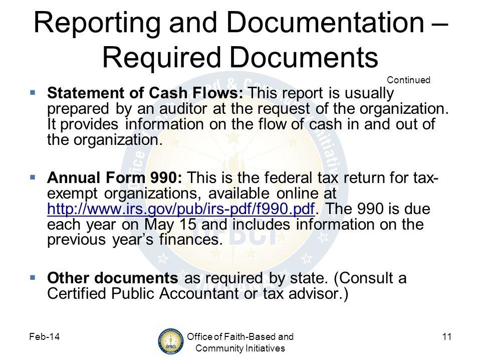 Reporting and Documentation – Required Documents Continued