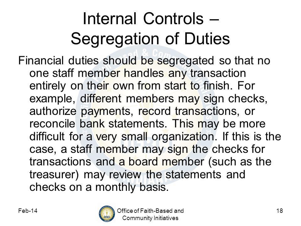 Internal Controls – Segregation of Duties