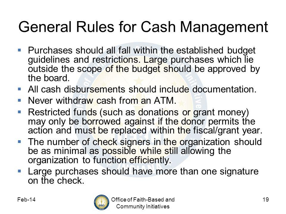 General Rules for Cash Management
