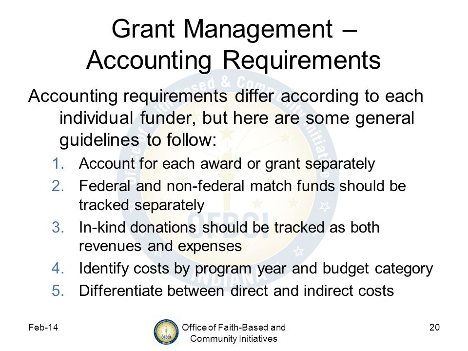 Grant Management – Accounting Requirements