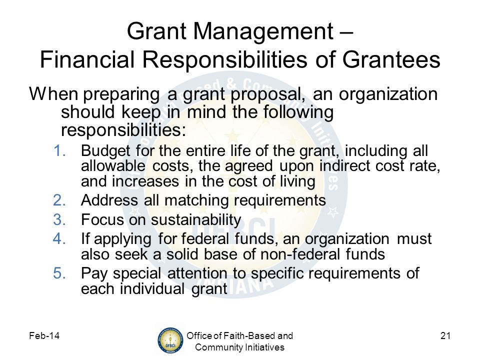 Grant Management – Financial Responsibilities of Grantees