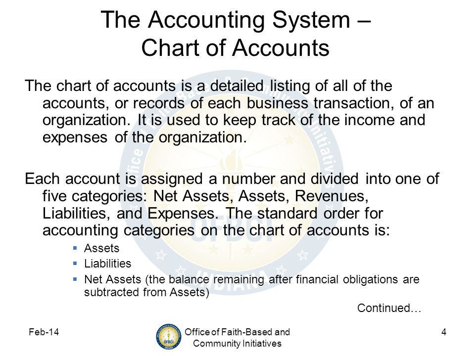 The Accounting System – Chart of Accounts