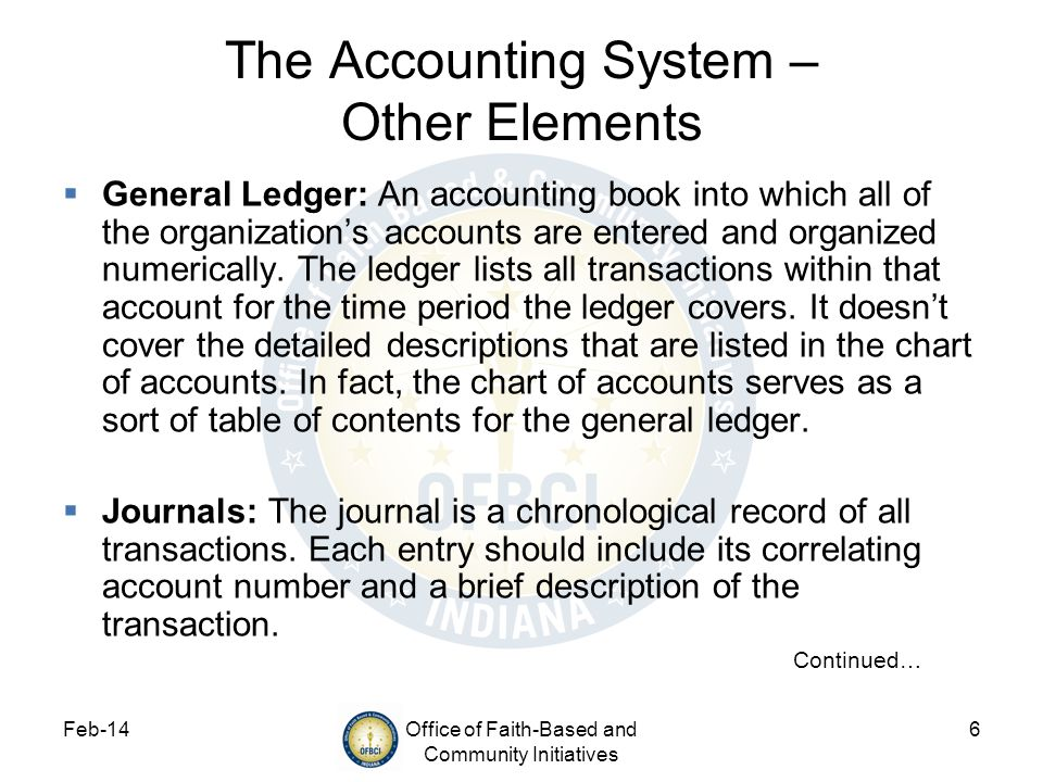 The Accounting System – Other Elements