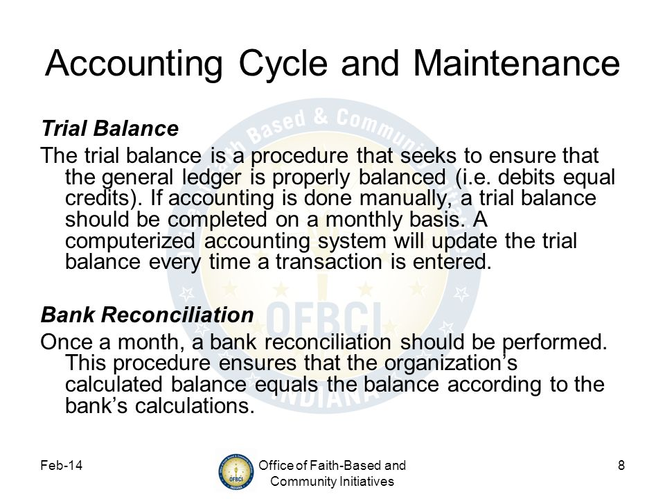 Accounting Cycle and Maintenance