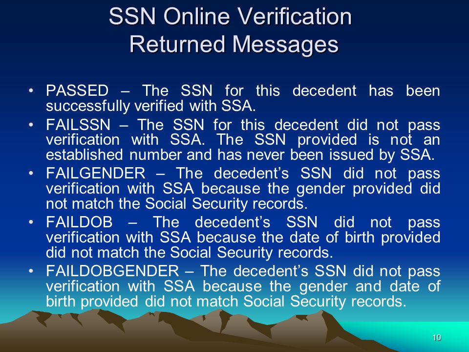 SSN Online Verification Returned Messages