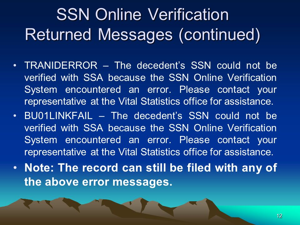 SSN Online Verification Returned Messages (continued)