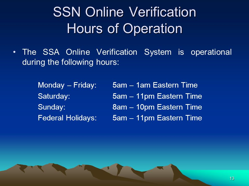 SSN Online Verification Hours of Operation