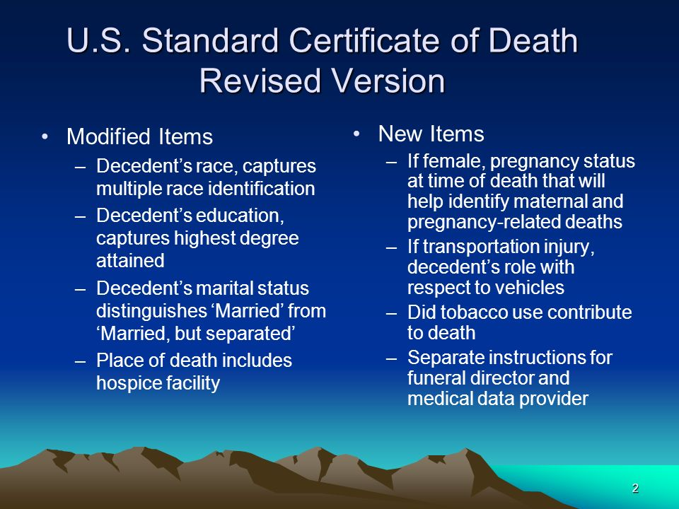 U.S. Standard Certificate of Death Revised Version