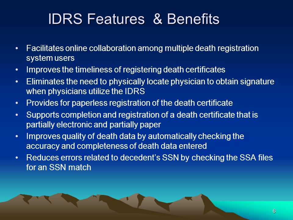 IDRS Features & Benefits