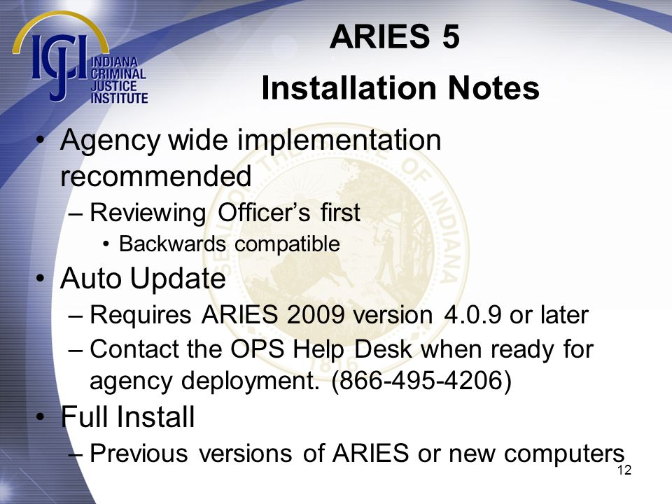 ARIES 5 Installation Notes