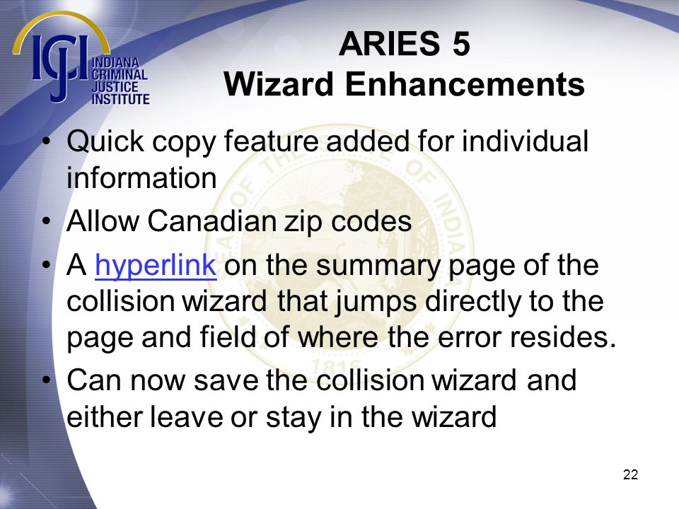 ARIES 5 Wizard Enhancements