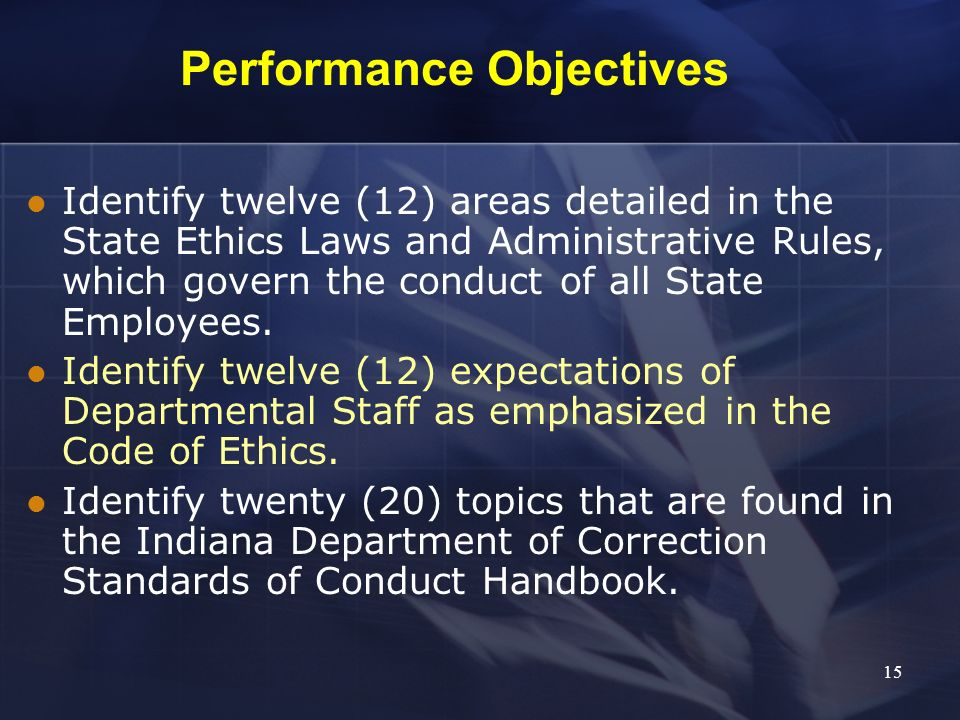 Performance Objectives