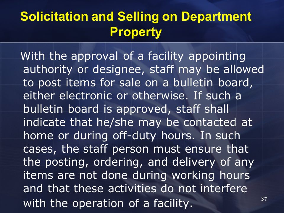 Solicitation and Selling on Department Property