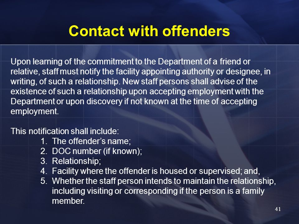 Contact with offenders