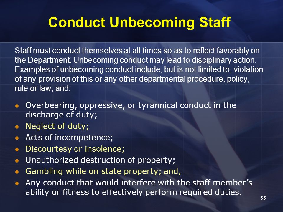 Conduct Unbecoming Staff