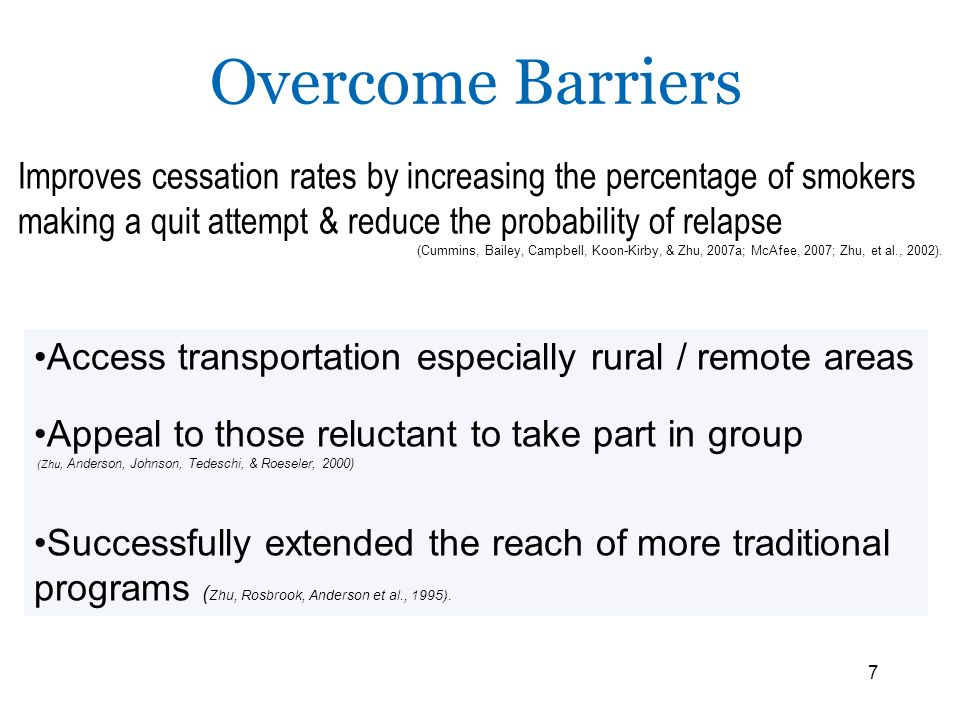 Overcome Barriers Improves cessation rates by increasing the percentage of smokers making a quit attempt & reduce the probability of relapse.