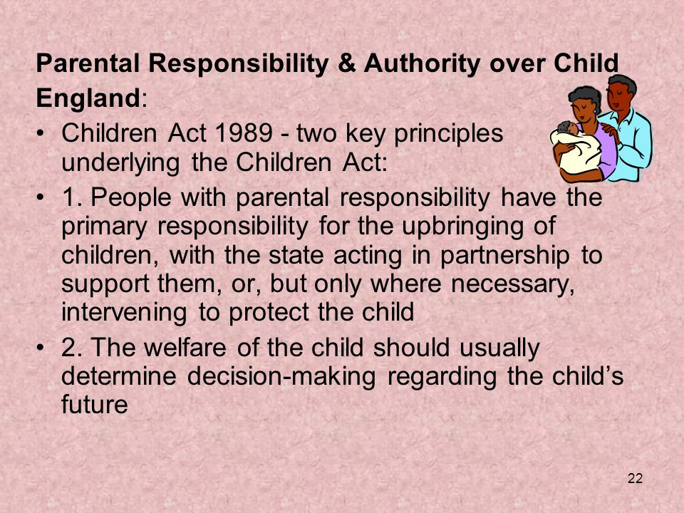 uk child law and parental responsibility essay Under the children act 1989, parental responsibility means all the rights, duties, powers, responsibilities and authority which, by law, a parent of a child has in relation to the child and his property.
