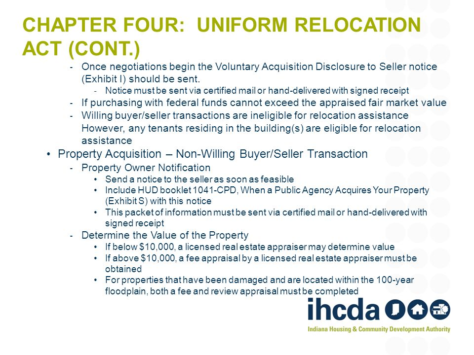 Chapter four: uniform relocation act (cont.)